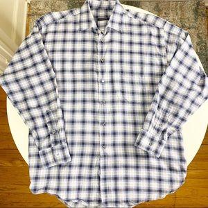 Burberry London Cotton Plaid Print Button Shirt